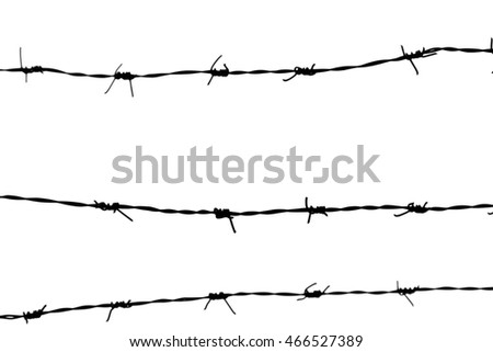 Barbed wire in white background.