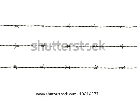 barbed wire isolated on white - stock photo