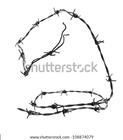 Barbed wire isolated on white background - stock photo