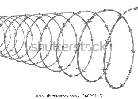 Barbed wire isolated over white background - stock photo