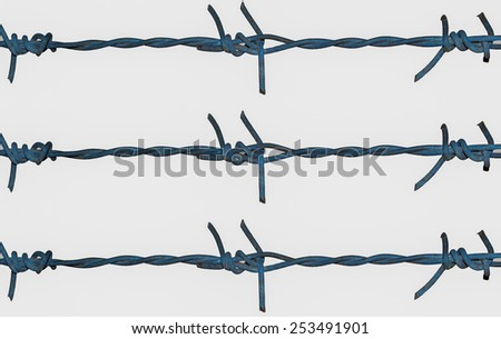 Barbed wire on isolated  background - stock photo