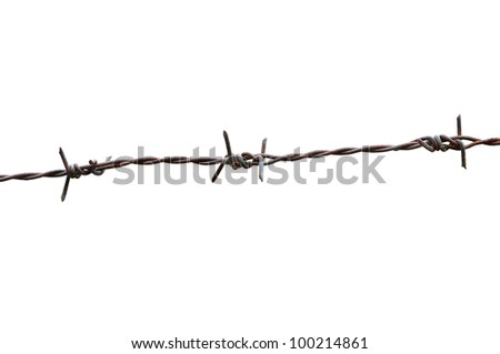 Barbed wire on white background - stock photo