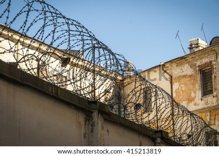 Barbed wire protective fence of Patarei prison in Tallinn, Estonia - stock photo