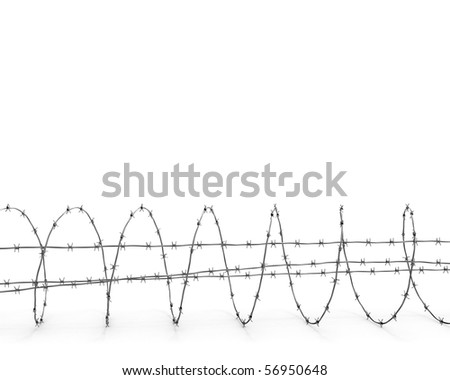 Barbed wire side view - stock photo