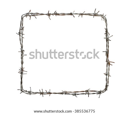 Barbed wire square isolated on white background - stock photo