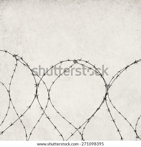 barbed wire Textured old paper background with barbed wire and fence   - stock photo
