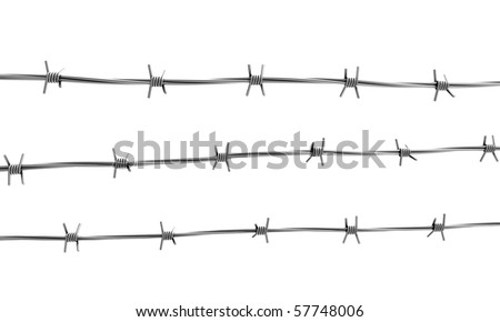 Barbed wire three lines - stock photo