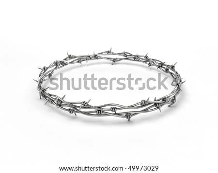 Barbed wire wreath on white background - stock photo