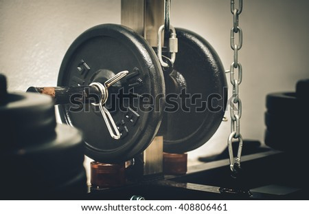 barbell set,Free Weight or weight-lifting - stock photo