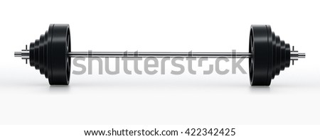 Barbell with heavy weights isolated on white background. 3D illustration.