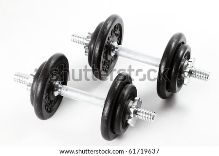 barbells isolated on white - stock photo