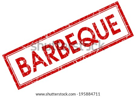Barbeque red square grungy stamp isolated on white background - stock photo