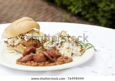 barbeque sandwich plate - stock photo