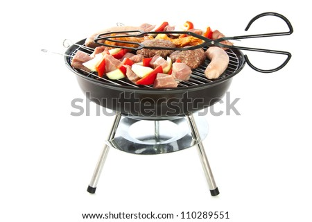 Barbeque with different kind of meat isolated over white - stock photo