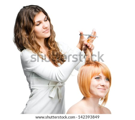 barber cuts a pretty girl