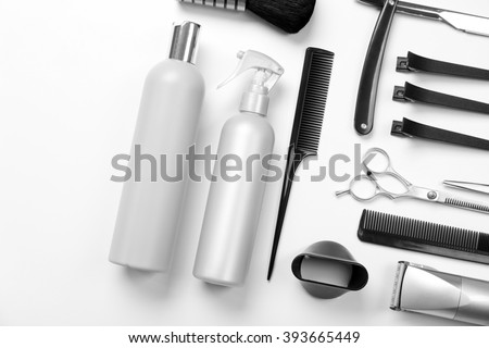 Barber set with tools, equipment and cosmetics, isolated on white