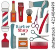 Barber shop set - stock vector