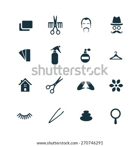 barbershop icons set on white background