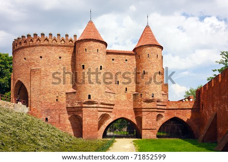 Barbican - Fortified medieval outpost - stock photo