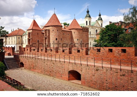 Barbican - Fortified medieval outpost - Warsaw / Poland - stock photo