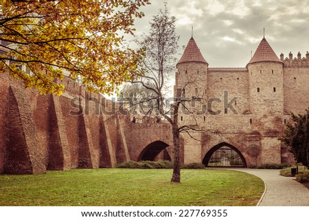 Barbican fortress in the historic center of Warsaw - stock photo