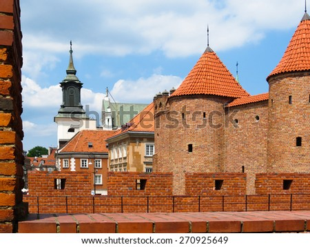 Barbican fortress in the historic center of Warsaw, Poland - stock photo