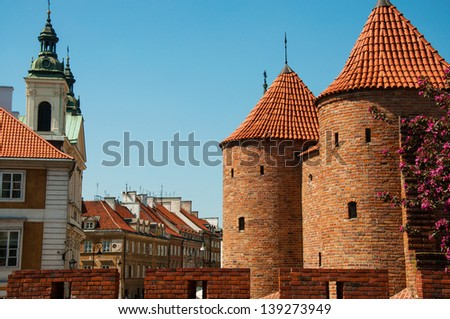 Barbican in Warsaw's Old Town - stock photo