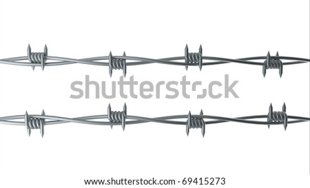 Barbwire computer rendering isolated on white - stock photo