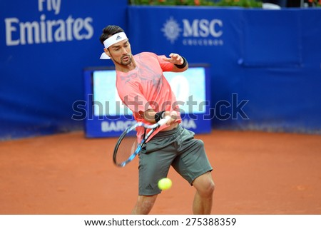 BARCELONA - APR 24: Fabio Fognini (tennis player from Italy) plays at the ATP Barcelona Open Banc Sabadell Conde de Godo tournament on April 24, 2015 in Barcelona, Spain. - stock photo