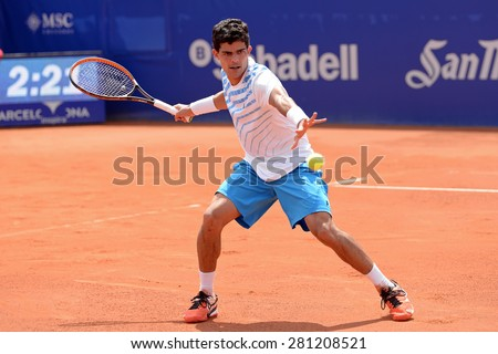 BARCELONA - APR 18: Rui Machado (tennis player from Portugal) plays at the ATP Barcelona Open Banc Sabadell Conde de Godo tournament on April 18, 2015 in Barcelona, Spain. - stock photo