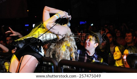 BARCELONA - APR 30: The sensual blonde singer of Murfila (band) performs at Razzmatazz clubs on April 30, 2011 in Barcelona, Spain. Tresc anniversary party. - stock photo