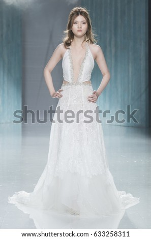 BARCELONA APRIL 27 Model Walks On Stock Photo (100% Legal Protection ...