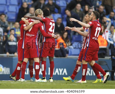 BARCELONA - APRIL, 9: Atletico Madrid players celebrating goal during a Spanish League match against RCD Espanyol at the Power8 stadium on April 9, 2016 in Barcelona, Spain - stock photo