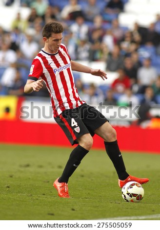 BARCELONA - APRIL, 12: Aymeric Laporte of Athletic Club Bilbao during a Spanish League match against RCD Espanyol at the Power8 Stadium on April 12 2015 in Barcelona Spain - stock photo
