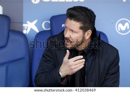 BARCELONA - APRIL, 9: Diego Simeone manager of Atletico Madrid during a Spanish League match against RCD Espanyol at the Estadi Cornella in April 9, 2016 on Barcelona, Spain - stock photo