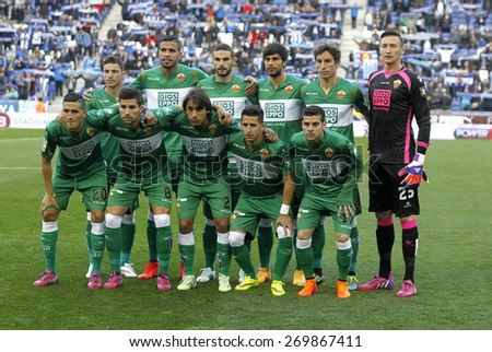 BARCELONA - APRIL, 6: Elche CF lineup before a Spanish League match against RCD Espanyol at the Estadi Cornella on April 6, 2015 in Barcelona, Spain - stock photo