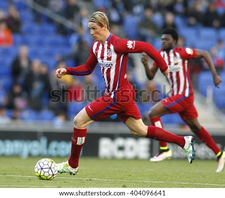 BARCELONA - APRIL, 9: Fernando Torres of Atletico Madrid during a Spanish League match against RCD Espanyol at the Power8 stadium on April 9, 2016 in Barcelona, Spain - stock photo