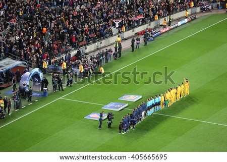 Barcelona April 05 - 2016: Football players are entering the field in Camp Nou stadium on Champions league match between FC Barcelona and Atletico Madrid, 2 - 1 on April 05, 2016, in Barcelona, Spain - stock photo