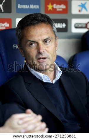 BARCELONA - APRIL, 6: Fran Escriba manager of Elche CF during a Spanish League match against RCD Espanyol at the Estadi Cornella on April 6, 2015 in Barcelona, Spain - stock photo