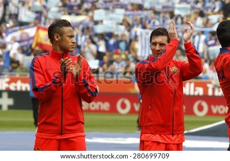 BARCELONA - APRIL, 25: Leo Messi and Neymar of FC Barcelona clapping hands before a Spanish League match against RCD Espanyol at the Power8 stadium on April 25, 2015 in Barcelona, Spain - stock photo