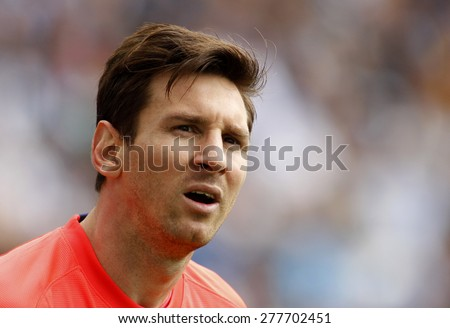 BARCELONA - APRIL, 25: Leo Messi of FC Barcelona during a Spanish League match against RCD Espanyol at the Power8 stadium on April 25, 2015 in Barcelona, Spain