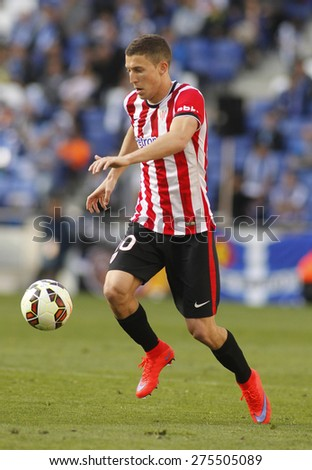 BARCELONA - APRIL, 12: Oscar de Marcos of Athletic Club Bilbao during a Spanish League match against RCD Espanyol at the Power8 Stadium on April 12 2015 in Barcelona Spain - stock photo