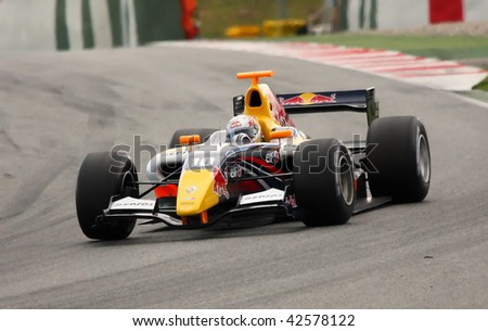 BARCELONA - APRIL 19: Picture of Jaime Alguersuari driving his car in the World Series by Renault competition, in the circuit of Catalunya (Barcelona, Spain). April 19, 2009 in Barcelona.