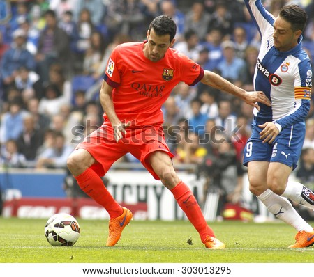BARCELONA - APRIL, 25: Sergio Busquets of FC Barcelona during a Spanish League match against RCD Espanyol at the Power8 stadium on April 25 2015 in Barcelona Spain - stock photo