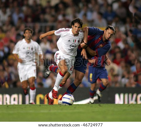 BARCELONA - AUG 26: AC Milan Brazilian Kaka during a friendly match between FC Barcelona and AC Milan at the Nou Camp Stadium on August 26, 2004 in Barcelona, Spain. - stock photo