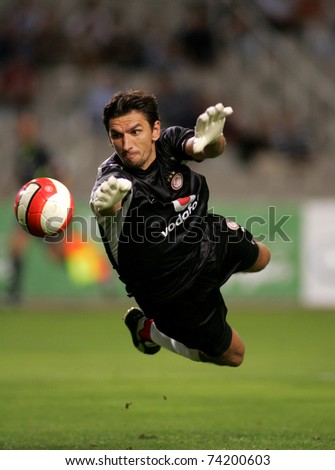 BARCELONA - AUG 16: Olympiacos Goalkeeper Tomislav Butina during a friendly match between Espanyol and Olympiacos at the Olympic Stadium on August 16, 2007 in Barcelona, Spain - stock photo