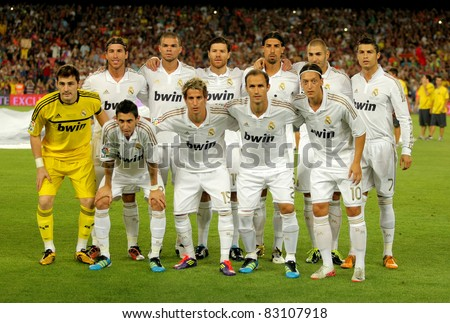 BARCELONA - AUG. 17: Real Madrid Team pose before the Spanish Supercup football match between Barcelona vs Real Madrid at the New Camp Stadium in Barcelona, Spain on August 17, 2011 - stock photo
