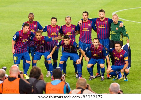 BARCELONA - AUGUST 17: Barcelona players before the Spanish Supercup final match between FC Barcelona and Real Madrid, 3 - 2, on August 17, 2011 in Barcelona, Spain. - stock photo