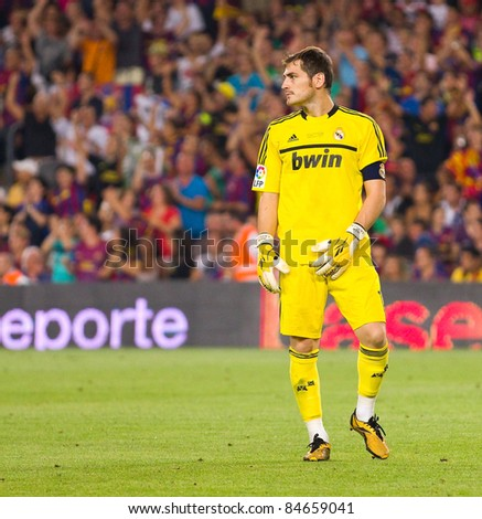 BARCELONA - AUGUST 17: Iker Casillas of Madrid during the Spanish Super Cup final match between FC Barcelona and Real Madrid, 3 - 2, on August 17, 2011 in Barcelona, Spain.