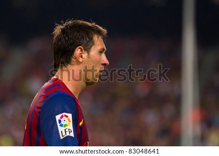 BARCELONA - AUGUST 17: Leo Messi during the Spanish Supercup final match between FC Barcelona and Real Madrid, 3 - 2, on August 17, 2011 in Barcelona, Spain. - stock photo